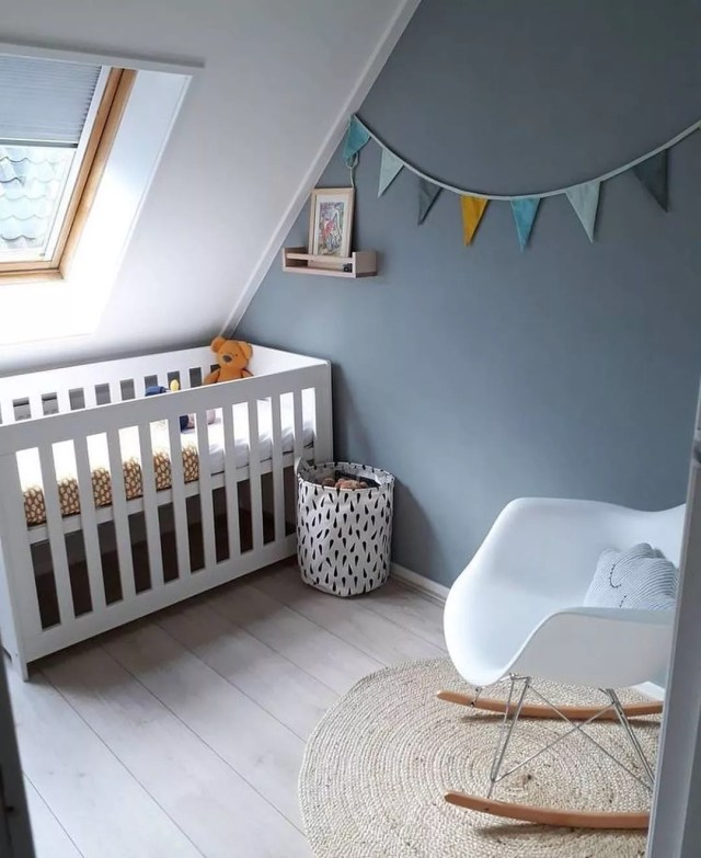 Baby nursery set up in attic space. Photo by Instagram user @potkrovlje.ba