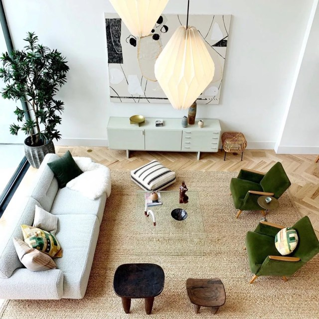 Overhead view of staged living room. Photo by Instagram user @katkrogphotog