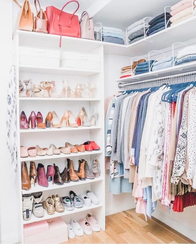 Organized closet with women's clothes and shoes. Photo by Instagram user @simplysamorganized