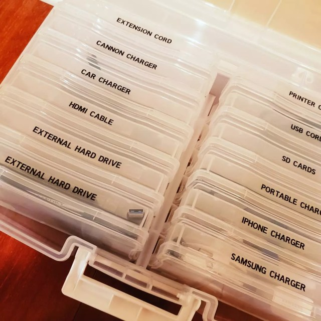 Organized cords with labels in clear container. Photo by Instagram user @beforeandafter_org