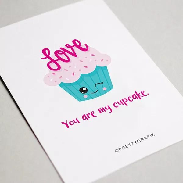 Card with Cute Cupcake Graffic. Photo by Instagram user @prettygrafik