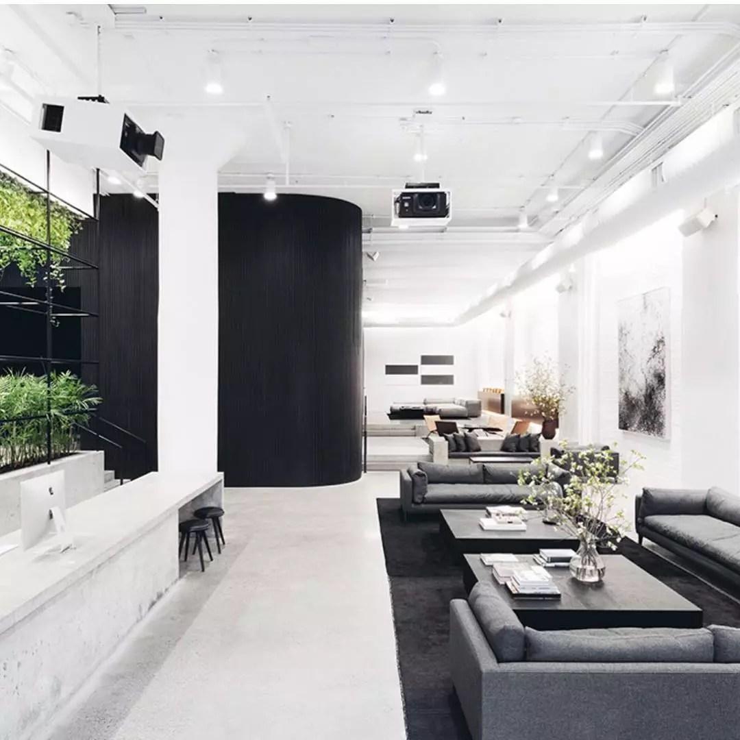 Sleek Minimalist office. Photo by Instagram user @area3design