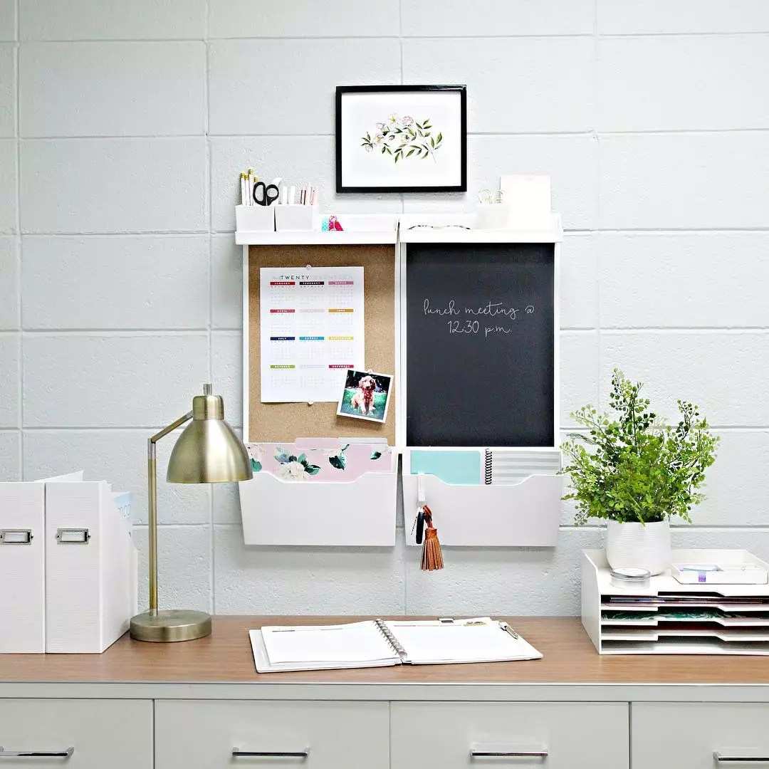 Office Wall with Vertical Storage Solutions. Photo by Instagram user @iheartorganizing