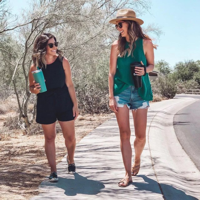 Two young women going for a walk in Arizona neighborhood. Photo by Instagram user @something.sisterly
