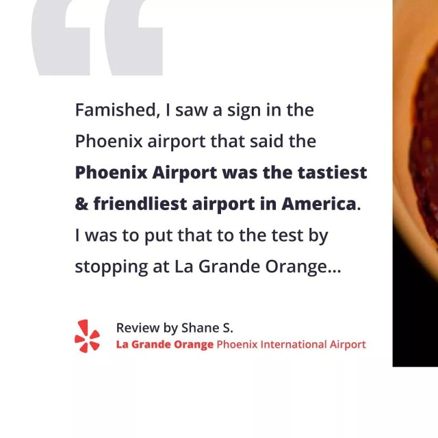 Yelp review about Phoenix Airport. Photo by Instagram user @yelp