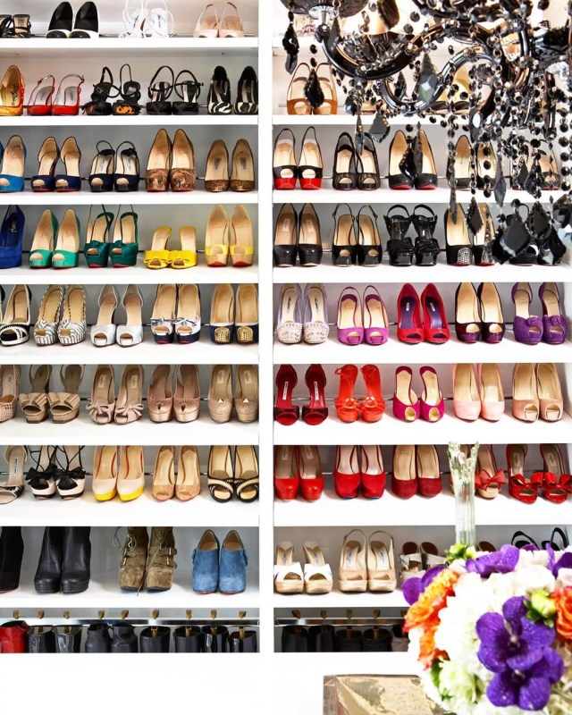 Colorful shoes in closet. Photo by Instagram user @laclosetdesign