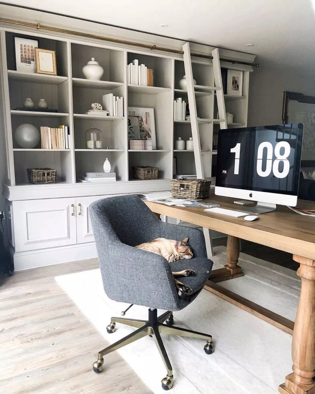 Cozy neutral home office. Photo by Instagram user @meganaliceinteriors