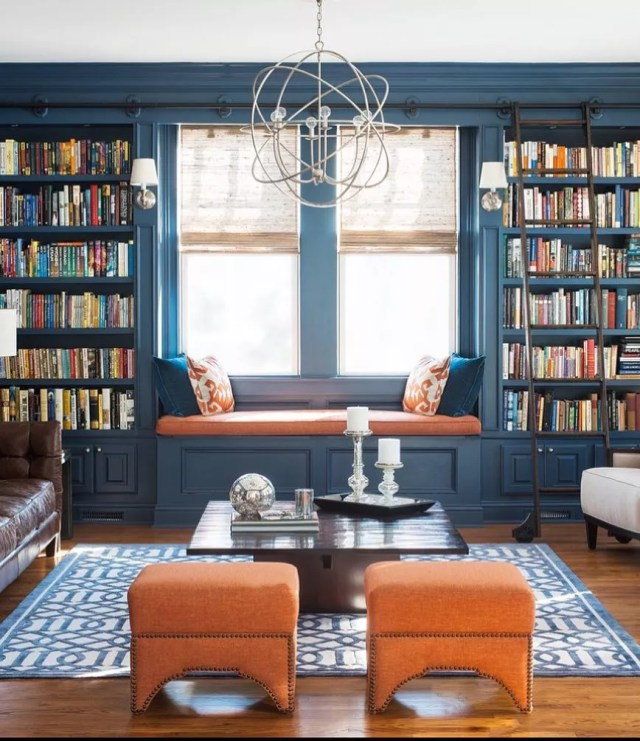 comfortable blue home library designed around a reading nook photo by Instagram user @buxtonelsternwickcaulfield
