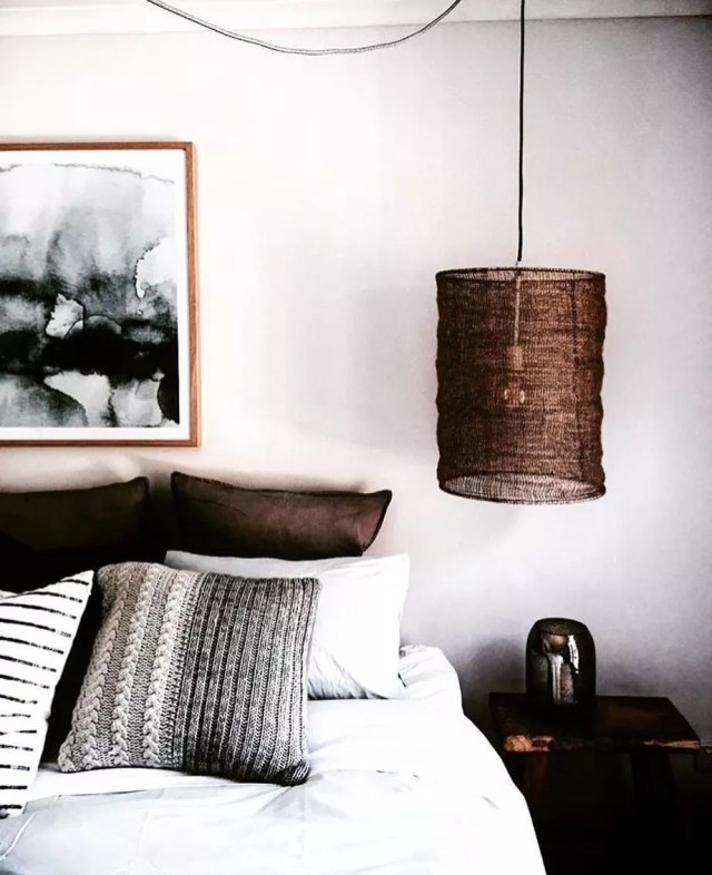 Modern Hanging Lang Beside White Bed. Photo by Instagram user @craveforinterior