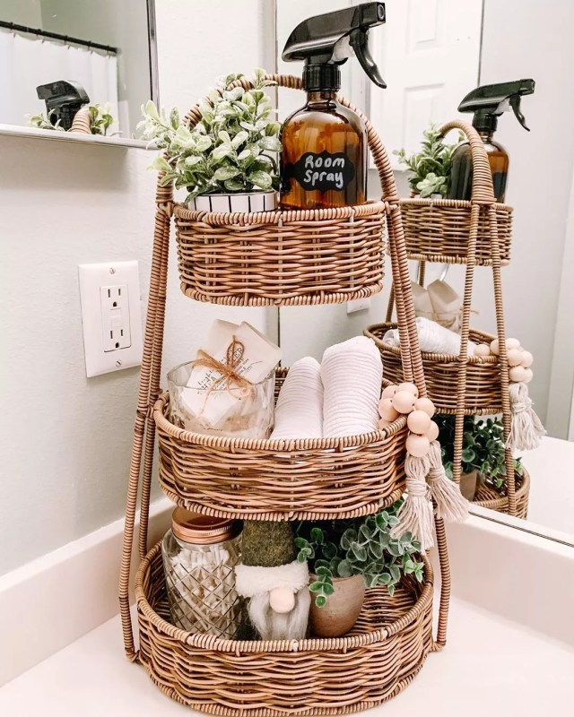 Wicker Basket with Bathroom Supplies. Photo by Instagram user @farmhousebargainhunter