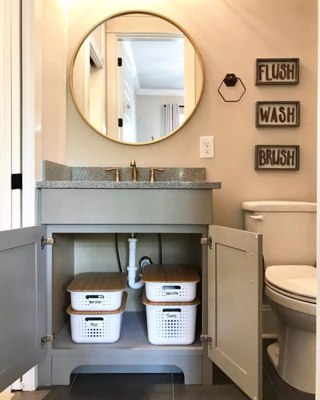 Labeled Containers Underneath the Sink. Photo by Instagram user @suddenlysimpleorganizing