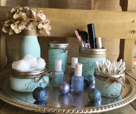 Mason Jars as Containers for Cotton Balls and Makeup Supplies. Photo by Instagram user @organizer_zu