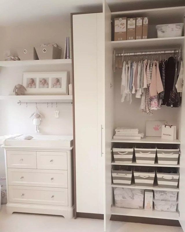 Closet with Bins Storing Childrens Clothes. Photo by Instagram user @for.the.love.of.greige