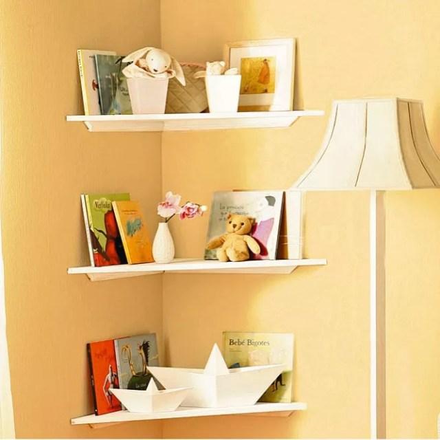 Corner Shelves Storing Toys and Books in Kids Room. Photo by Instagram user @handymanmagazine