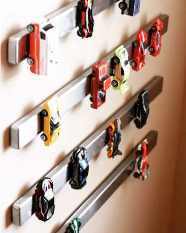 Magnetic Strips on Walls to Hold Toy Cars. Photo by Instagram user @precision organizing