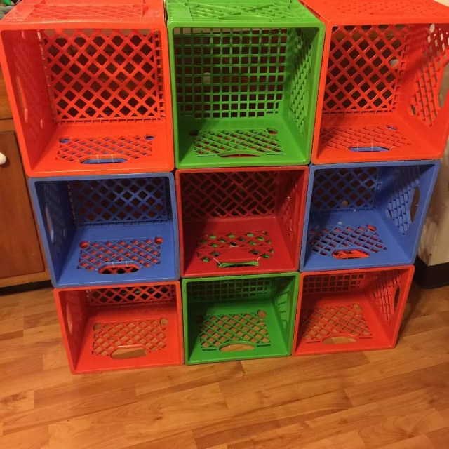 Milk Crates Repurposed as Storage for Kids Toys. Photo by Instagram user @alb_1987