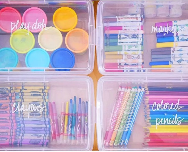 Colorful Storage for Childrens Art Supplies. Photo by Instagram user @irisusa