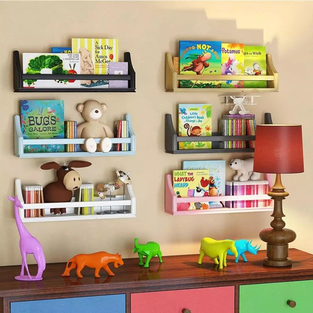 Kids Room with Toys and Books Stored in Bins on Wall. Photo by Instagram user @taylorflanery