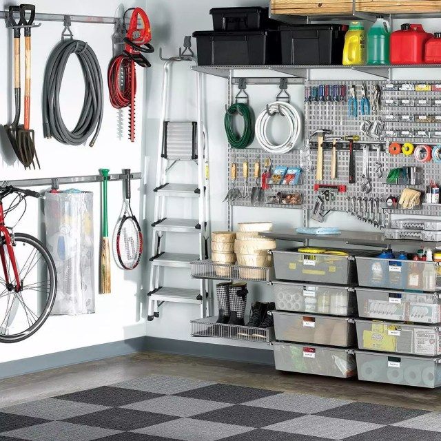 Gardening Tools Hung on Walls and Garage Work Bench. Photo by Instagram user @thecontainerstore
