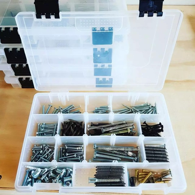 Nuts and Bolts Stored in Tackle Box. Photo by Instagram user @design_by_d9