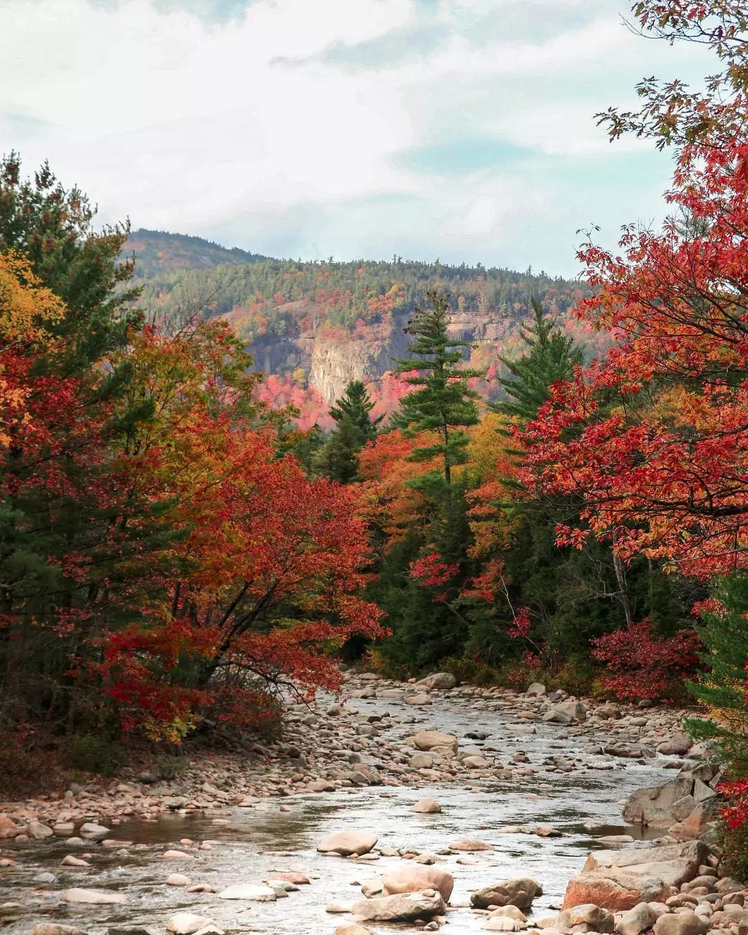 River and Forest in the Fall in Lincoln, NH. Photo by Instagram user @tononphoto