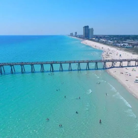 Aerial View of Panama City Beach with Long Bridge. Photo by Instagram user @official_james_joyner
