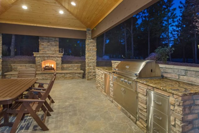 Outdoor covered kitchen living space