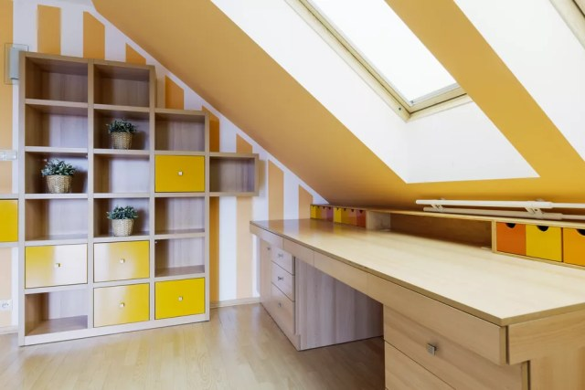 Bright, organized attic space