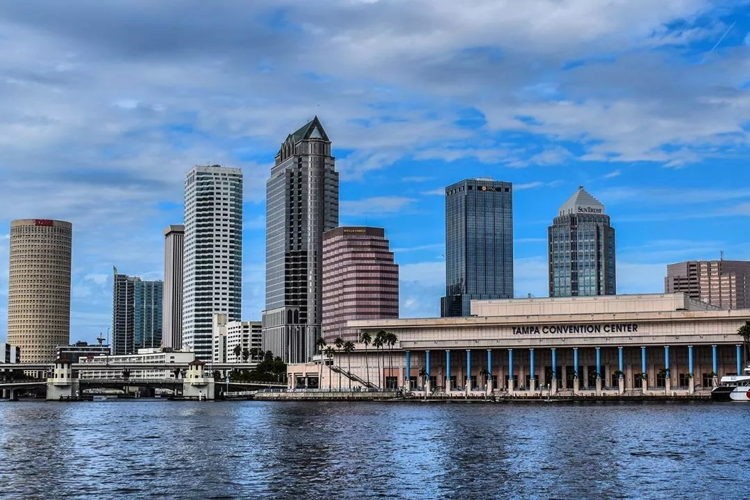 Tampa skyline from the water with convention center in front photo by Instagram user @andy_1__