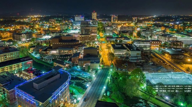 Downtown greenville, sc at night photo by Instagram user @chris_leyland_photography