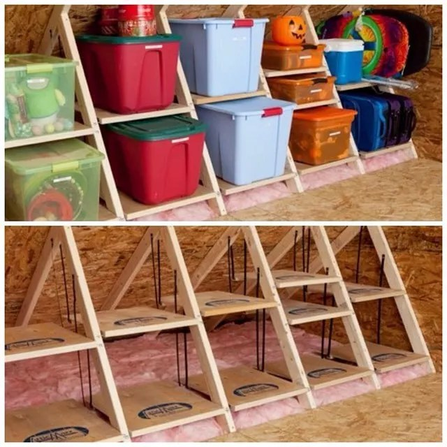Before and after photo of attic shelving. Photo by Instagram user @taylorflanery