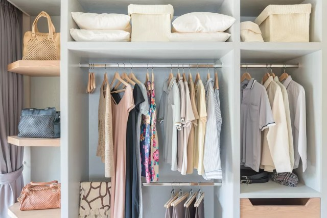 Organized closet with spring wardrobe
