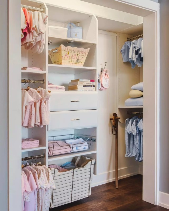 Childrens Closet with Several Layers of Shelves. Photo by Instagram user @hamptondesignandclosets