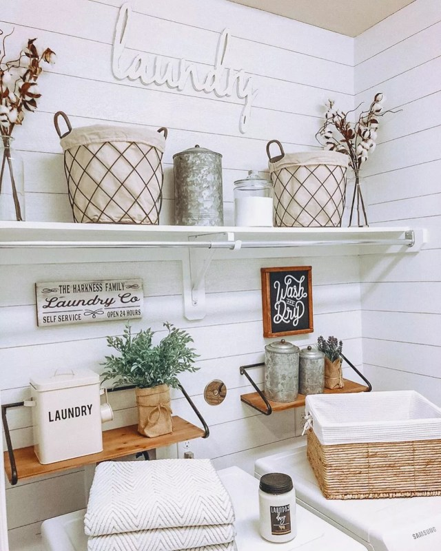 Laundry Room with Shelves for Storage and Supplies on Walls. Photo by Instagram user @harknesshomestylist