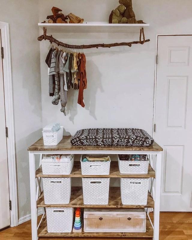 Makeshift baby closet. Photo by Instagram user @urbanoakdesignsca