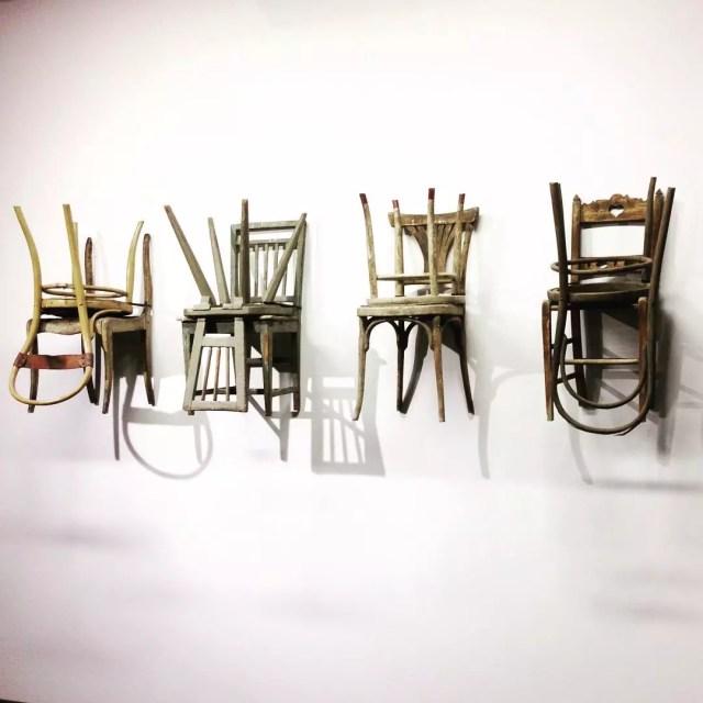 Chairs in modern art display. Photo by Instagram user @martenschechprocess
