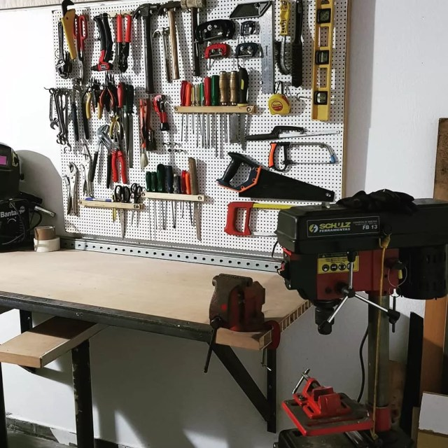 Pegboard wall with tool storage. Photo by Instagram user @mgvr_workshop