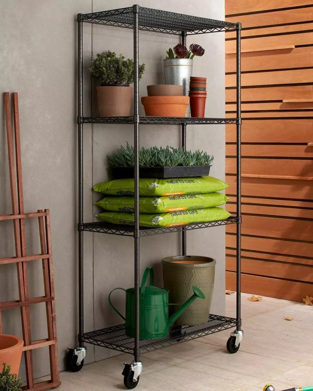wire shelving with wheels and garden gear on it photo by Instagram user @trinityinternational