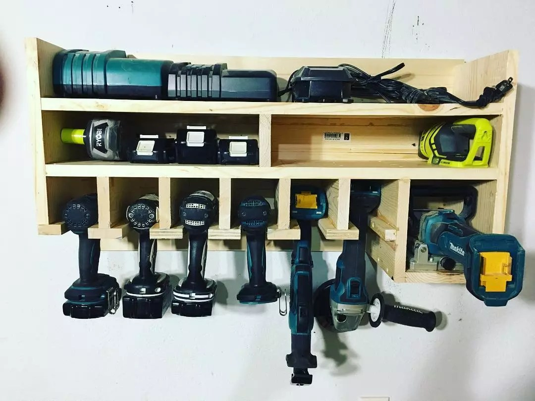 power tools stored inside of a handmade tool holder photo by Instagram user @mynextprojects