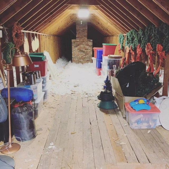 Attic storage space with items hanging. Photo by Instagram user @bitsandbobsnashville