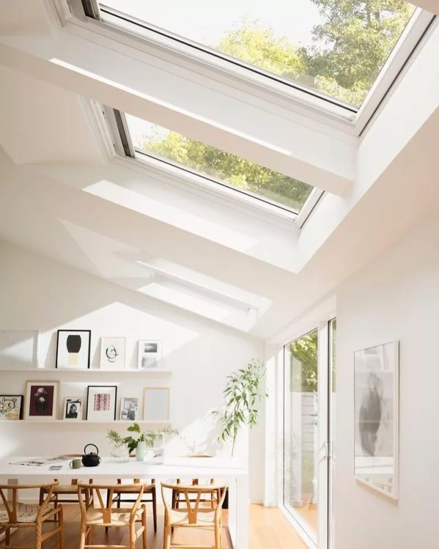 Several Skylights Letting in Natural Light. Photo by Instagram user @white.and.woods