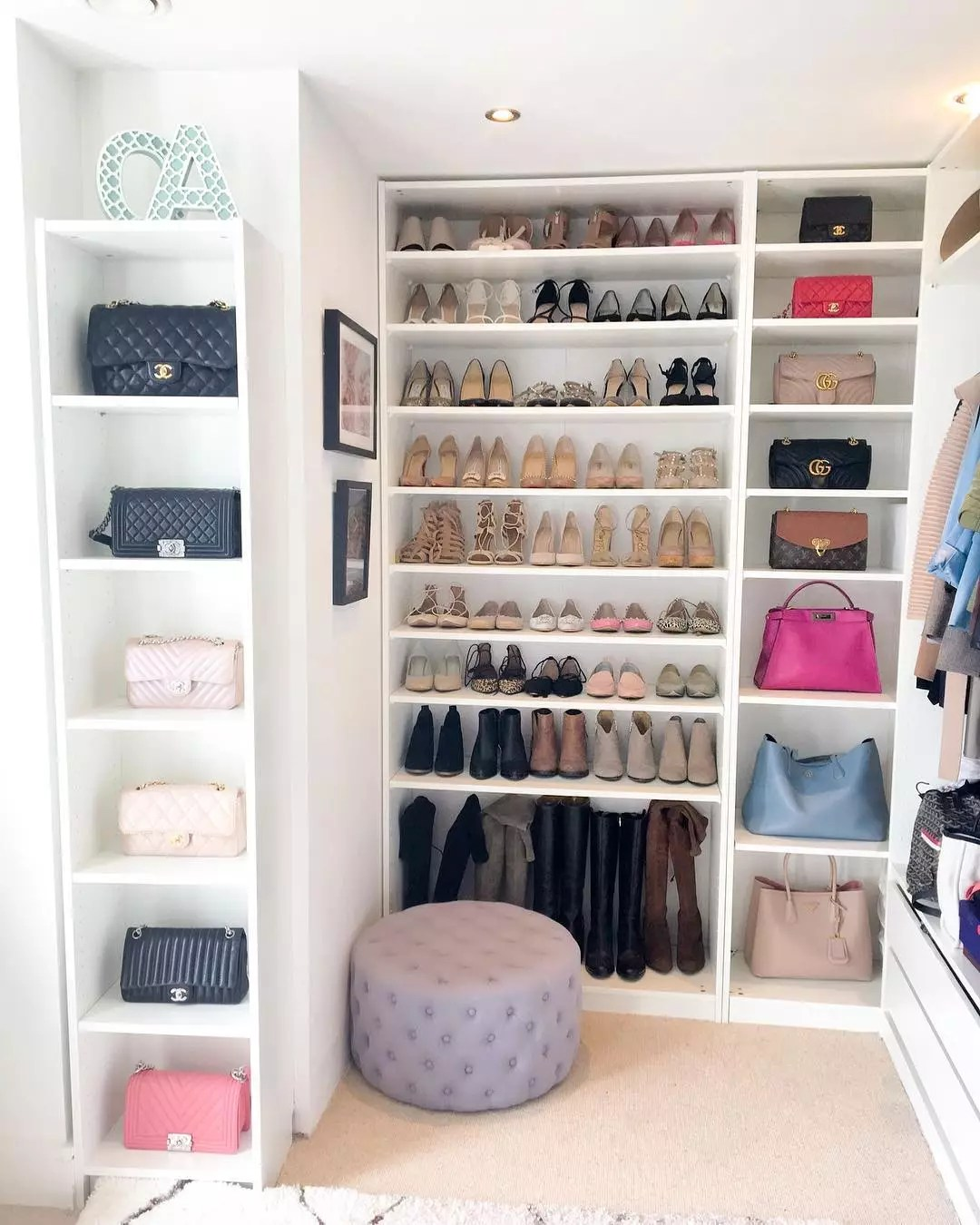 Organized, spacious walk-in closet. Photo by Instagram user @chase_amie