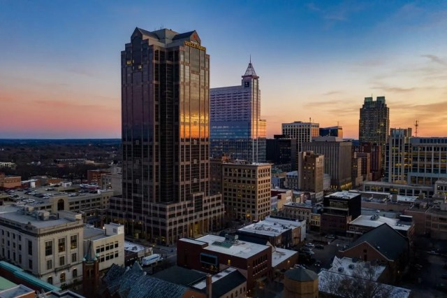 raleigh durham, NC skyline photo from drone photo by Instagram user @flyboyaerial