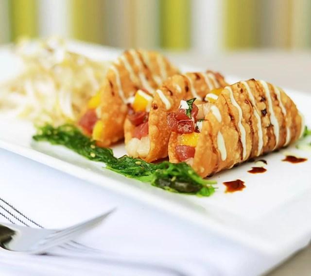Plate of fried tuna tacos. Photo by Instagram user @boatyard_restaurantftl