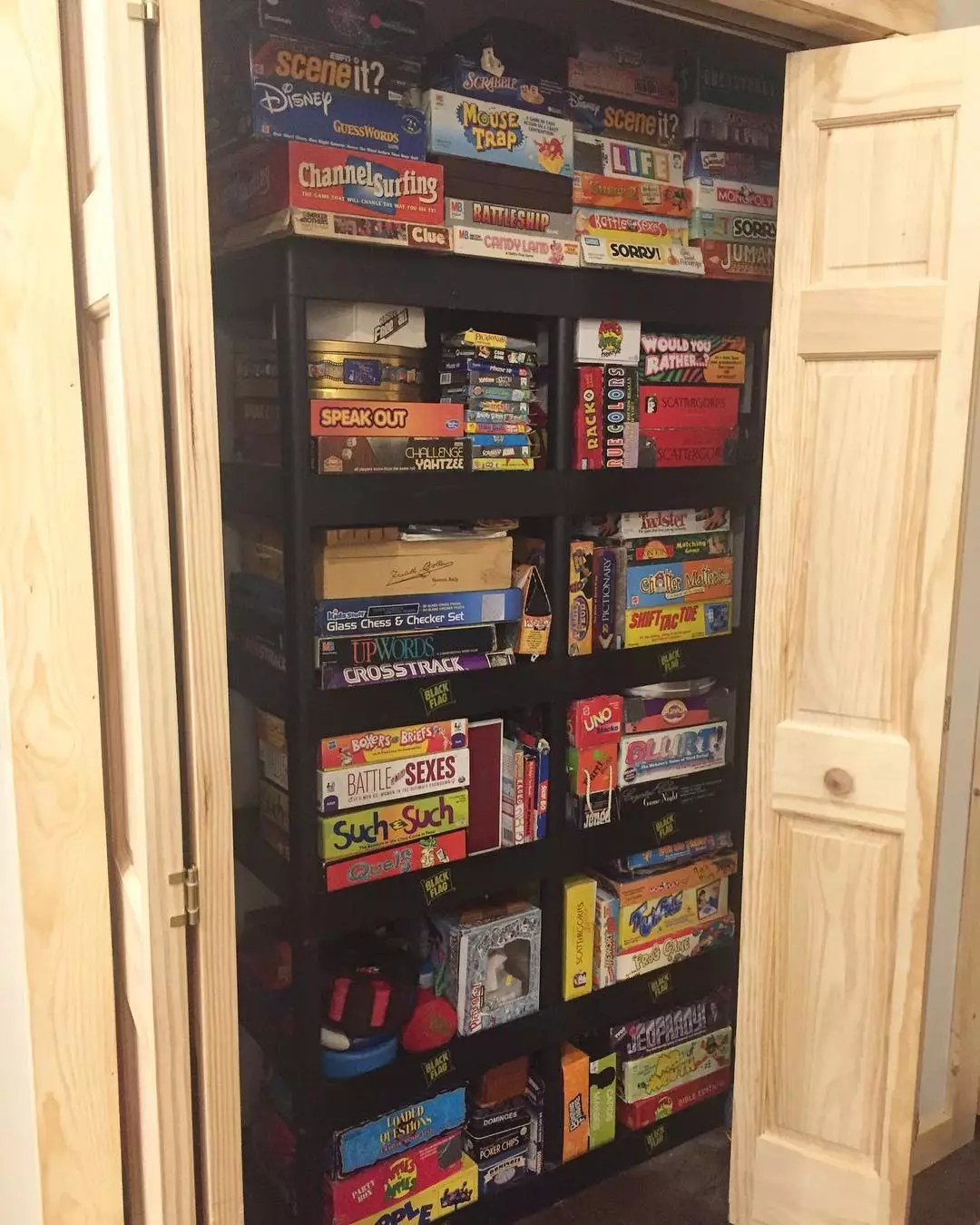 Closet full of board games. Photo by Instagram user @bnelson_92
