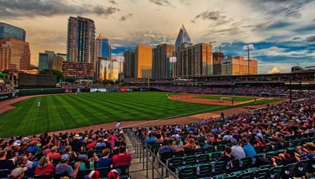 Baseball game at BB&T Ballpark in Charlotte, NC. Photo by Instagram user @mattshdr