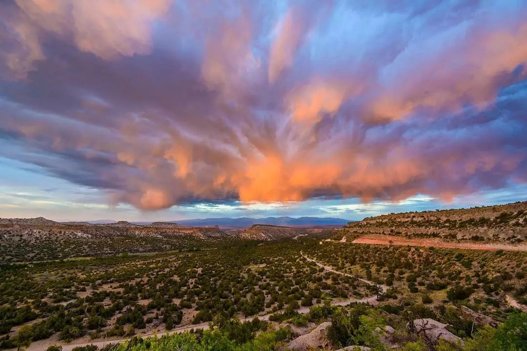 looking out at the desert with cloud cover in Los Alamos photo by Instagram user @nathan.burnside