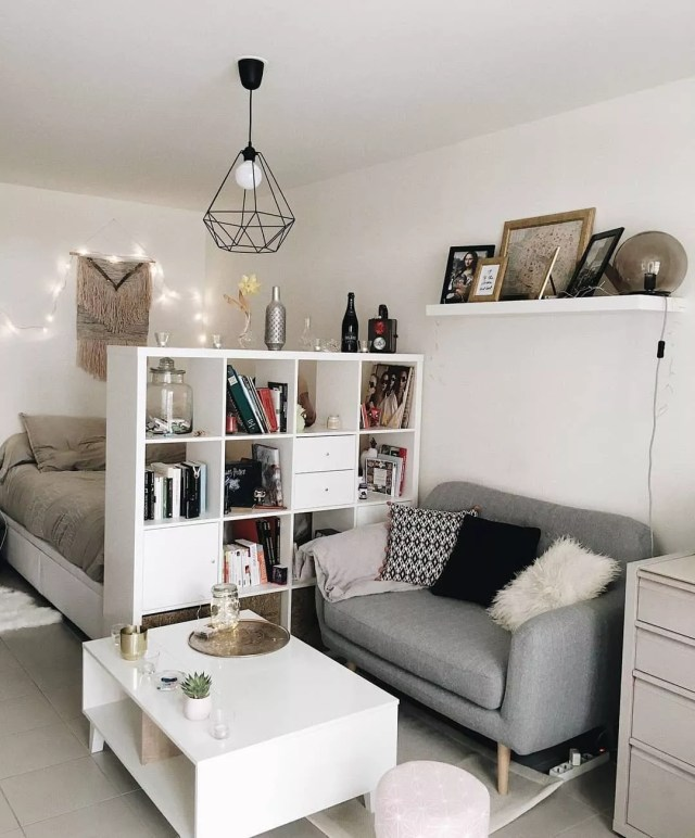 Couch, Bed, and Shelves in Studio Aparment. Photo by Instagram user @littlecrafthse