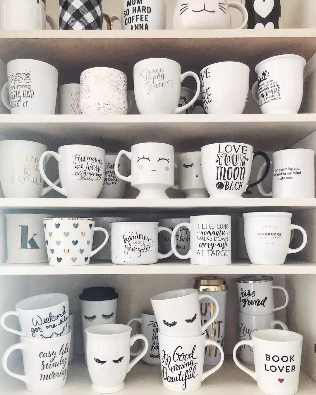 Kitchen Cupboard Filled with Dozens of Coffee Mugs. Photo by Instagram user @kayla_made