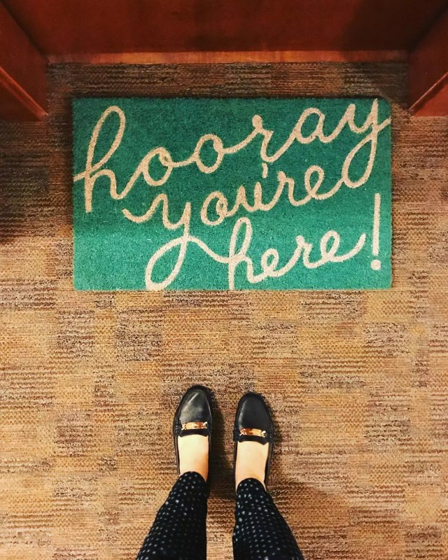 Welcome Mat Outside College Dorm Room. Photo by Instagram user @mckenzie.apartment.company